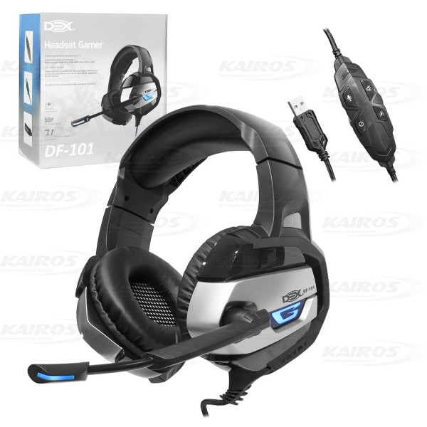 FONE C/MICROFONE DEX HEADSET GAMER USB LED 7.1 DF-101