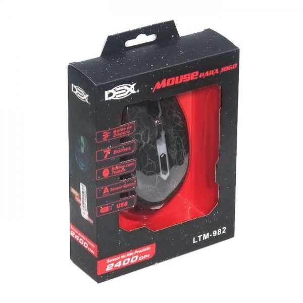 MOUSE GAMER DEX USB 2400DPI PRETO - LTM-982