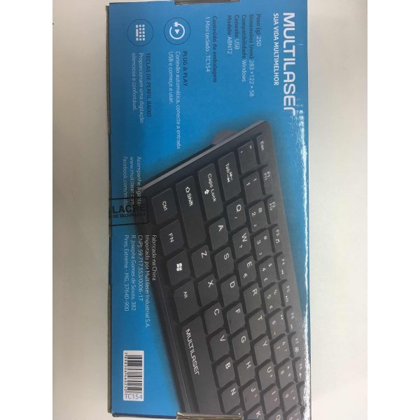 TECLADO MULTILASER MINI  SLIM COMFORT USB TC154